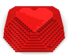 Pyramid with heart on top made of red cubic pixels, front view Stock Illustration