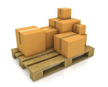 Stack of different sized carton boxes on wooden pallet Stock Illustration