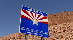 Welcome to Arizona sign at State border Stock Footage