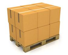 Stack of carton boxes on a pallet Stock Illustration