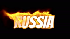 Russia. text on fire. word in fire. turbulence Stock Footage