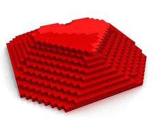 Pyramid with heart on top made of red cubic pixels,diagonal view - stock illustration