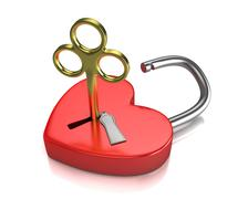 Opened red lock formed as heart with a golden key in a keyhole Stock Illustration