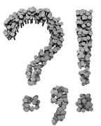 Alphabet made from hammered nails, punctuation marks Stock Illustration