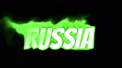 russia. text on fire. word in fire. turbulence - stock footage