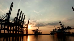 Stock Video Footage of 4K Germany Port of Hamburg Container Harbour Harbor Heavy Industry Cranes