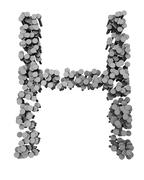 Alphabet made from hammered nails, letter H - stock illustration
