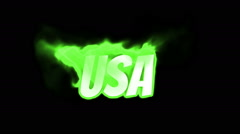 USA. text on fire. word in fire. turbulence Stock Footage