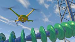 UAV drone inspecting high-voltage insulators, 3D animation - stock footage