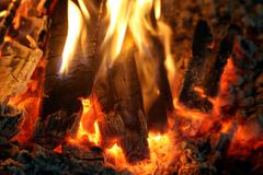Camp Fire Embers - stock photo