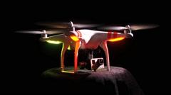 Phantom Drone Dark Background Camera Tilts Stock Footage
