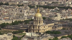 The Dôme des Invalides (in 4K) viewed from the Tour Montparnasse, Paris. Stock Footage