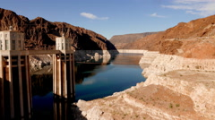 Beautiful wide angle shot of Hoover Dam Stock Footage