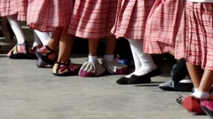 Children foot in shoe rags dancing Stock Footage