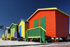 Colorful Beach Change Rooms - stock photo