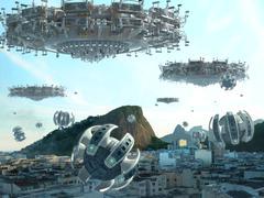 Rio De Janeiro UFO Invasion Stock Illustration
