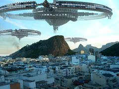 UFO fleet invading Rio De Janeiro - stock illustration