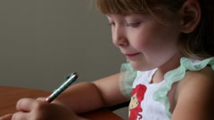 Young Girl Drawing - close up Stock Footage