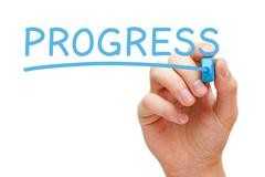 Progress Blue Marker - stock photo