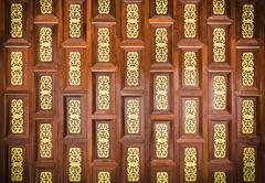 Traditional  thai wooden  carving wall - stock photo