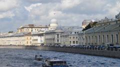 Fontanka river in Saint Petersburg Stock Footage