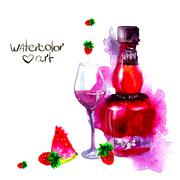 alcohol and sweets. watercolor - stock illustration