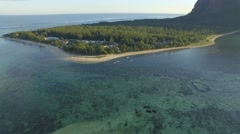 DRONE VIEW REEF AND MOUNTAIN IN MAURITIUS - stock footage