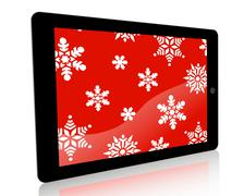 Tablet Ad Snowflakes - Red - stock illustration