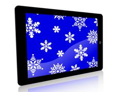 Tablet Ad Snowflakes - Blue - stock illustration