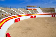 Stock Photo of Alcudia Mallorca plaza de Toros bullring  under blue sky