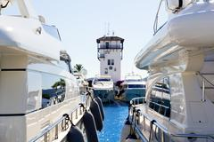 Calvia Puerto Portals Nous luxury yachts in Majorca - stock photo