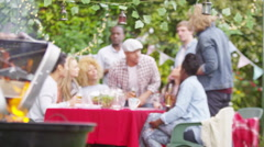 4K Happy mixed ethnicity group of friends raise beer bottles for a toast at bbq  - stock footage