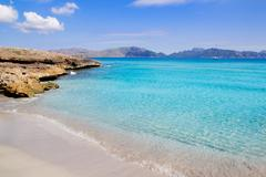 Alcudia beach in Cala San Pere from Balearic Mallorca - stock photo