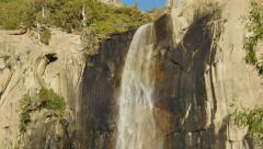 4K Yosemite Bridalveil Fall 08 Rainbow Waterfall - stock footage