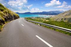 Curve of road in mountain with Pollensa view in Mallorca Stock Photos