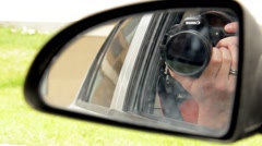 Photographer Spy Taking Pictures Car Mirror Stock Footage