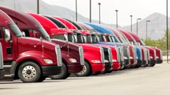 Semi Truck Diesels Stock Footage