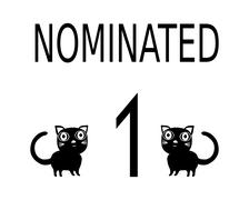 """Simple black white card with inscription """"nominated"""" two cats and number 1 Stock Illustration"""