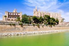 Majorca La seu Cathedral and Almudaina from Palma - stock photo