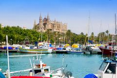 Majorca la Seu cathedral view from marina port of Palma - stock photo