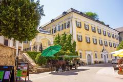 Fiacre in St. Wolfgang at the Wolfgangsee - stock photo