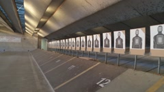 LAPD Academy mechanized indoor shooting range targets EST Stock Footage