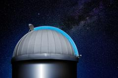 astronomical observatory dome night sky - stock photo