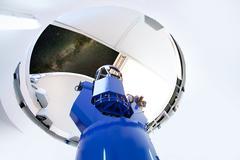 Astronomical observatory telescope indoor night Stock Photos