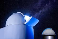Astronomical observatory dome stars night Stock Photos