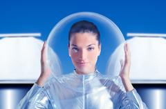 Astronaut beautiful future woman in observatory Stock Photos