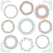 Colorful Hand Sketched Rustic Frames, Borders, Corners - stock illustration
