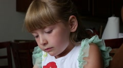 Young Girl Drawing/Playing Stock Footage