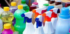 chemical products for cleaning chores - stock photo