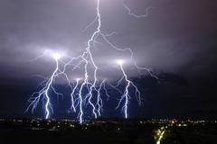 Extraordinary lightning sky Stock Photos